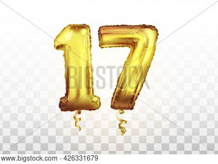 Vector Golden Number 17 Seventeen Metallic Balloon. Party Decoration Golden Balloons. Anniversary Si