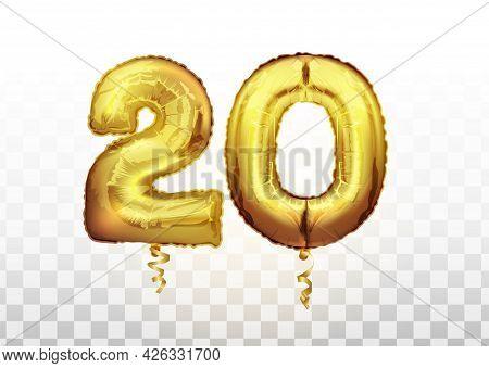 Golden Foil Number 20 Twenty Metallic Balloon. Party Decoration Golden Balloons. Anniversary Sign Fo