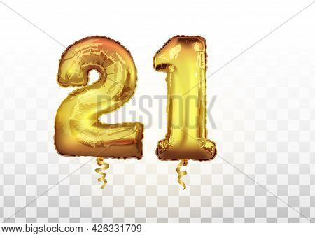 Golden Foil Number Twenty One Metallic Balloon. Party Decoration Golden Balloons. Anniversary Sign F