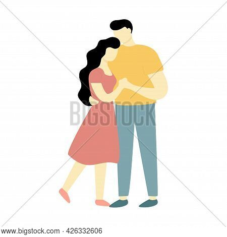 A Man And A Woman Are Embracing. Couple In Love. A Family Of Two. Vector Illustration On White Backg