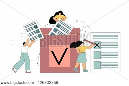Democracy Elections. Vote. People Vote During Elections. Freedom Of Expression Of Will. Constitution