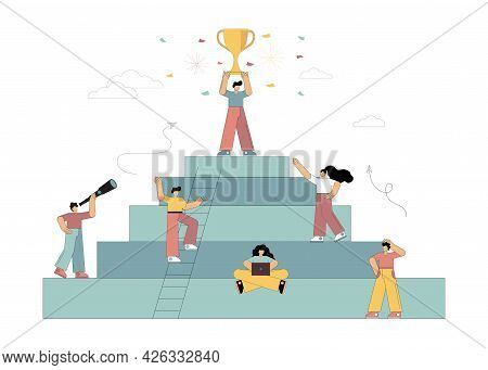 Vector Illustration. Goal. Victory. Achievement Of The Goal. Little People Move Up The Career Steps.