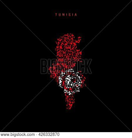 Tunisia Flag Map, Chaotic Particles Pattern In The Colors Of The Tunisian Flag. Vector Illustration