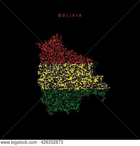 Bolivia Flag Map, Chaotic Particles Pattern In The Colors Of The Bolivian Flag. Vector Illustration