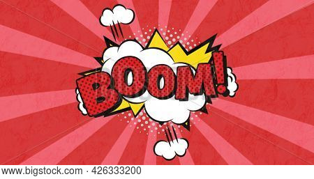 Image of vintage comic cartoon speech bubble with Boom! text written in red moving on red striped background. Retro pop art communication concept digitally generated image.
