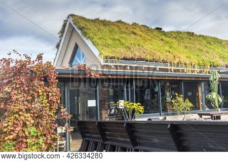 Port Elizabeth, South Africa - June 2, 2021: Grass Roof Restaurant And Farm Stall Selling Delicious