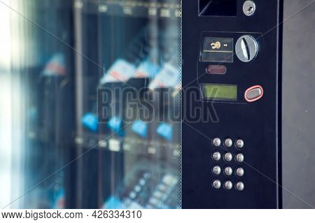 Vending Machine Keyboard On Operation Panel. Self-used And Consumption Concept