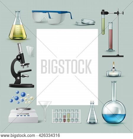 Vector Set Of Chemical Laboratory Equipment Test Tubes, Flasks With Colored Liquid, Glasses, Petri D