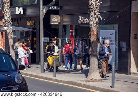 Torrevieja, Spain, 04.05.2021, People Walking At Street In Torrevieja City, Costa Blanca. Spain