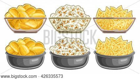 Vector Set Of Snacks In Bowls, Collection Of Cut Out Illustrations Tasty Potato Chips In Full Transp