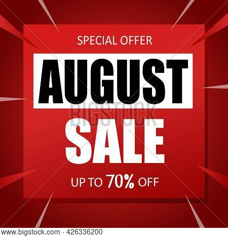 August Sale Banner Special Seasonal Offer Advertising Up To 70 Percent Off Discount Template Design