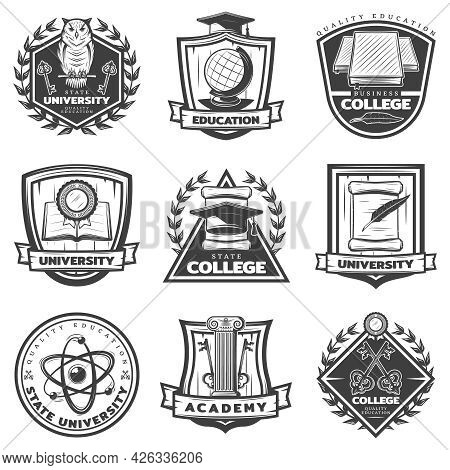 Vintage Monochrome Educational Labels Set With University College And Academy Elements Isolated Vect