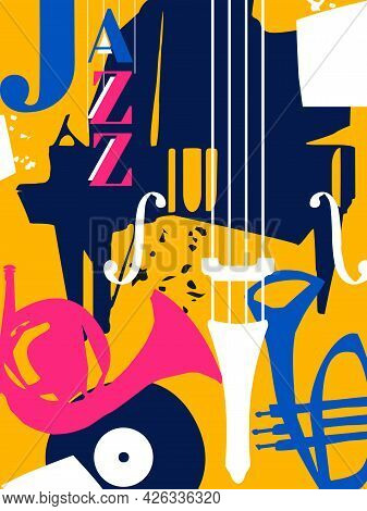 Musical Promotional Poster With Musical Instruments Colorful Vector Illustration. Piano, Trumpet, Fr