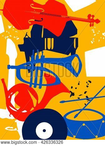 Musical Promotional Poster With Musical Instruments Colorful Vector. Cello, Piano, Trumpet, Guitar,