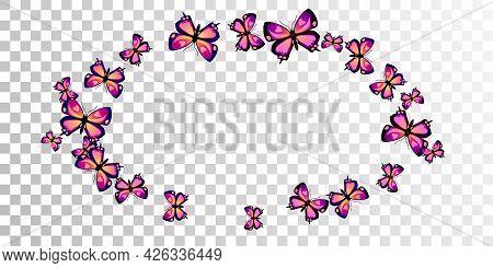 Tropical Purple Butterflies Abstract Vector Wallpaper. Summer Cute Moths. Decorative Butterflies Abs