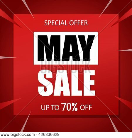 May Sale Banner Special Seasonal Offer Advertising Up To 70 Percent Off Discount Template Design Vec