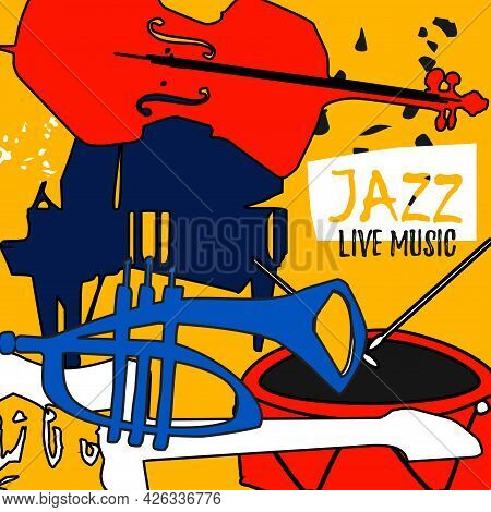 Musical Promotional Poster With Musical Instruments Colorful Vector Illustration. Violoncello, Piano