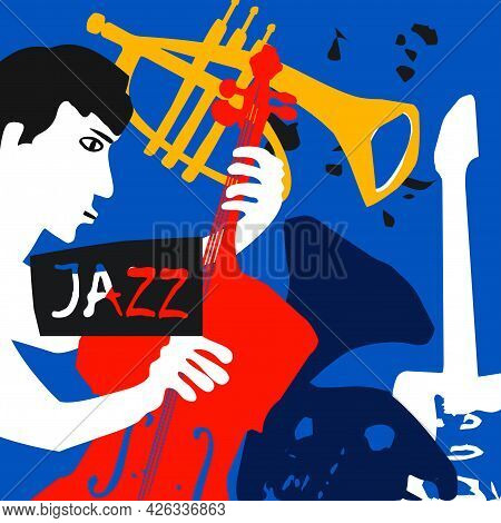 Musical Promotional Poster With Musician Playing Cello, Musical Instruments Colorful Vector. Violonc