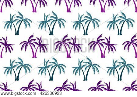 Coconut Tropical Palm Tree Summer Seamless Pattern