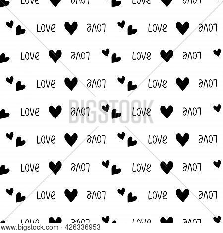 Seamless Pattern With Hearts And The Word Love. Festive Decoration, Print For Valentine Day, Wedding