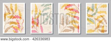 Herbal Wall Art Prints Collection. Spring Branches With Leaves.