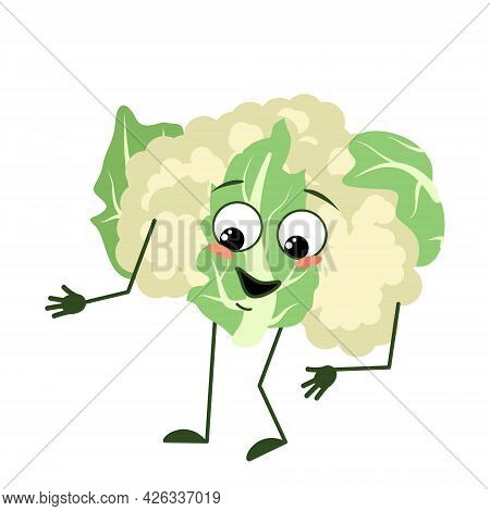 Cute Cauliflower Character With Joyful Emotions, Smiling Face, Happy Eyes, Arms And Legs. A Funny Gr