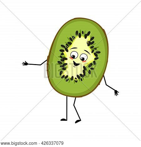 Cute Kiwi Character With Joyful Emotions, Smile Face, Happy Eyes, Arms And Legs. The Sweet Tropical