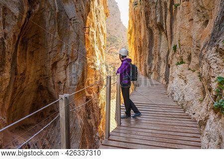 Tourist Woman In El Caminito Del Rey Tourist Attraction Malaga, Spain
