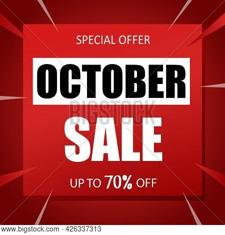 October Sale Banner Special Seasonal Offer Advertising Up To 70 Percent Off Discount Template Design