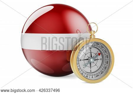 Compass With Latvian Flag. Travel And Tourism In Latvia Concept. 3d Rendering Isolated On White Back