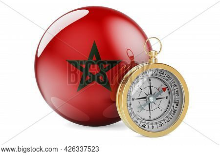 Compass With Moroccan Flag. Travel And Tourism In Morocco Concept. 3d Rendering Isolated On White Ba