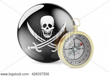 Compass With Piracy Flag, 3d Rendering Isolated On White Background