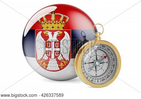 Compass With Serbian Flag. Travel And Tourism In Serbia Concept. 3d Rendering Isolated On White Back