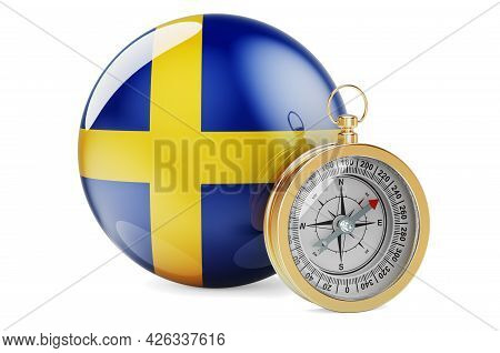 Compass With Swedish Flag. Travel And Tourism In Sweden Concept. 3d Rendering Isolated On White Back