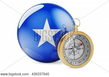 Compass With Somali Flag. Travel And Tourism In Somalia Concept. 3d Rendering Isolated On White Back