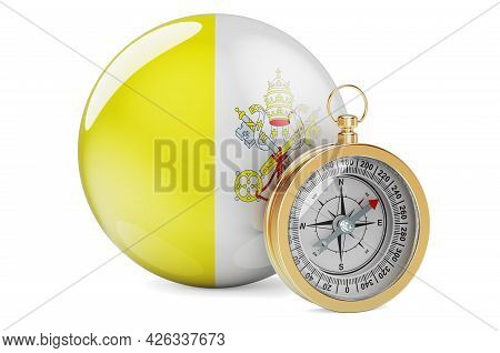Compass With Vatican Flag. Travel And Tourism In Vatican Concept. 3d Rendering Isolated On White Bac