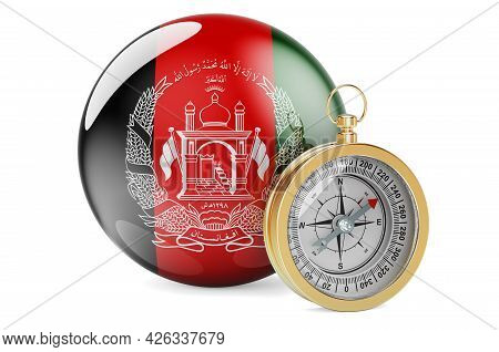 Compass With Afghan Flag. Travel And Tourism In Afghanistan Concept. 3d Rendering Isolated On White
