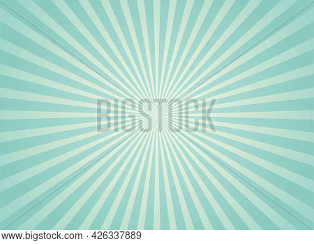 Sunlight Wide Retro Faded Background. Turquoise And Beige Color Burst Wallpaper. Fantasy Vector Illu