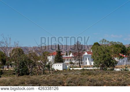 Matjiesfontein, South Africa - April 20, 2021: The Back Of The Lord Milner Hotel, As Seen From The E