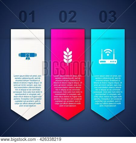 Set Diploma Rolled Scroll, Wheat And Router And Wi-fi. Business Infographic Template. Vector