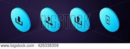 Set Isometric Smartphone With Download, Upload, Inbox And Download Icon. Vector