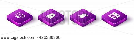Set Isometric Dead Monitor, Tombstone With Cross, Bell And Floppy Disk Icon. Vector