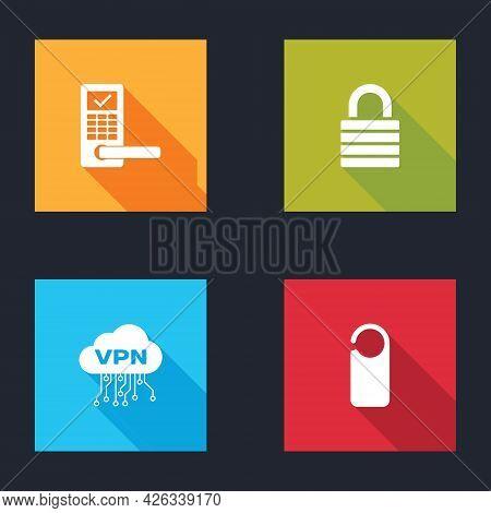 Set Digital Door Lock With Wireless, Lock, Cloud Vpn Interface And Please Not Disturb Icon. Vector