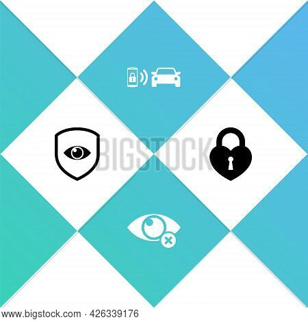 Set Shield And Eye, Invisible Or Hide, Smart Car Alarm System And Castle In The Shape Of Heart Icon.