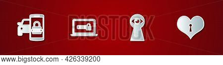 Set Smart Car Security System, Laptop With Password, Keyhole Eye And Heart Keyhole Icon. Vector