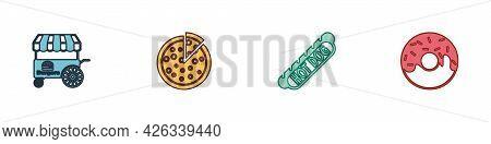 Set Fast Street Food Cart, Pizza, Hotdog Sandwich And Donut Icon. Vector