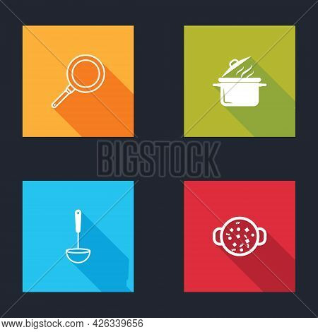 Set Frying Pan, Cooking Pot, Kitchen Ladle And Soup Icon. Vector