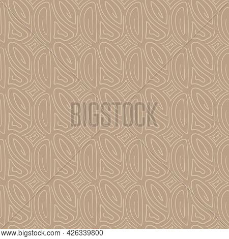Vector Drawing Seamless Pattern. Line Hand Drawn Brown Monochrome Background. Ornament For Fabric, W