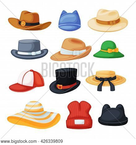 Cartoon Headwear. Cowboy Hat, Fedora, Beach Sun Hat, Baseball Cap, Black Cylinder. Different Types O