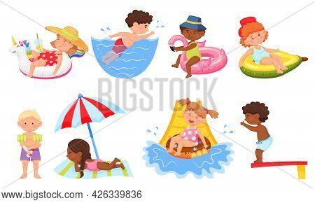 Kids Swimming. Happy Kid Applying Sunscreen, Going Down Water Slide. Cartoon Children In Swimsuit On